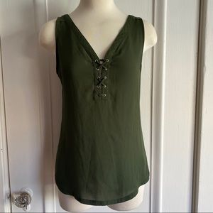 Express Olive Green Lace Front Tank Top XS